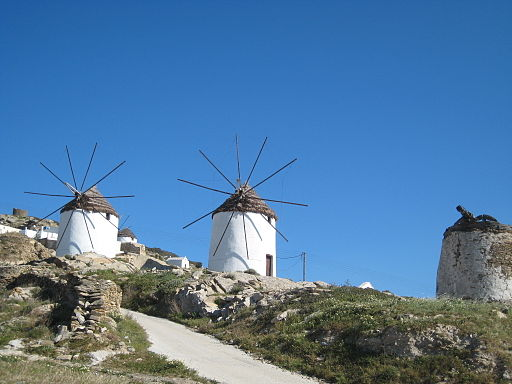 Windmills in Ios island Cyclades Greece